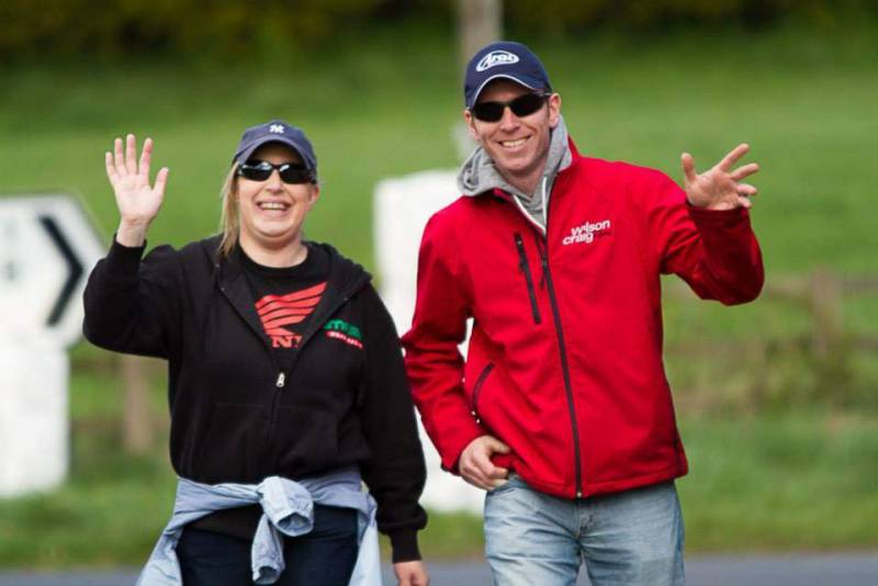 With Ronan J Owens and Cathy Fitzgerald at the Tandragee 100 Race Paddock.