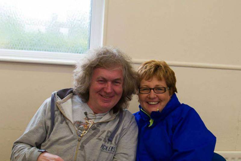 With Gerald Larkin at Tandragee 100 Race Paddock.